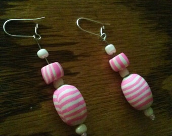 Pink & White Striped Polymer Clay Earrings