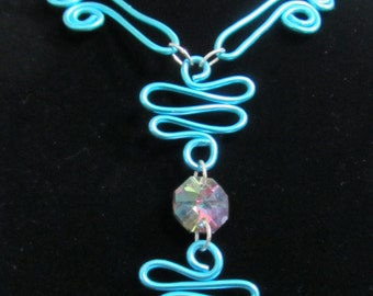 Hand Formed Brilliant Turquoise Wire and Crystal Hand made Necklace