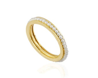 14K Solid  Yellow Gold Eternity Pearl Ring MLSS078S