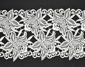 Venise Flower Lace Ribbon Trim for bridal, apparel, home décor, 5-3/8 Inch by 1 Yard, White, ROI-98062