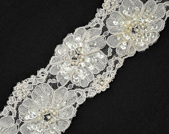 Beaded Sequin Embroidery Ribbon Lace Trim, Bridal Lace, 2-7/8 Inch by 1 Yard, WHITE, ROI-44559