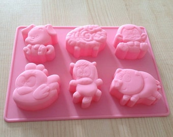 Cake Mold Soap Mould 6-Animal Flexible Silicone Mold Candle Candy Chocolate Cake DIY Fimo Resin Crafts