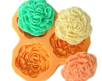 3-Cavity Large Peony Polymer Clay Mold Flexible Silicone Mould For Handmade Soap Candle Candy Cake Fimo Resin Crafts