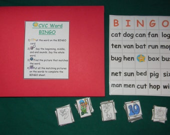 CVC Word BINGO-Teacher Made Literacy Game-classroom center-Educational resource tool-file folder game-learning activity-reading-spelling