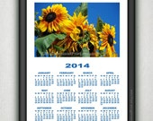 Framed Vibrant Sunflowers No1 Calendar 2014 Modern Wall Art Home Decor Art Wall Hanging Print Poster Photo Art Illustration Instant Download