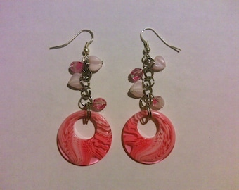 Pink and White dangle earrings FREE SHIPPING