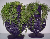 Upcycled Repurposed Purple Heart Planters Home Decor Centerpiece - bauble2bijou