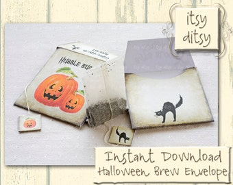 Digital Halloween Witches Brew envelopes- Halloween printables -Halloween tea bag holders, make your own teabag envelopes -Halloween crafts