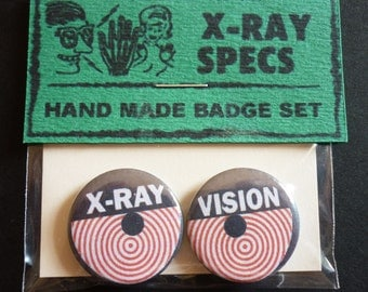 "X-ray Specs Handmade 1"" Button Badge Set"