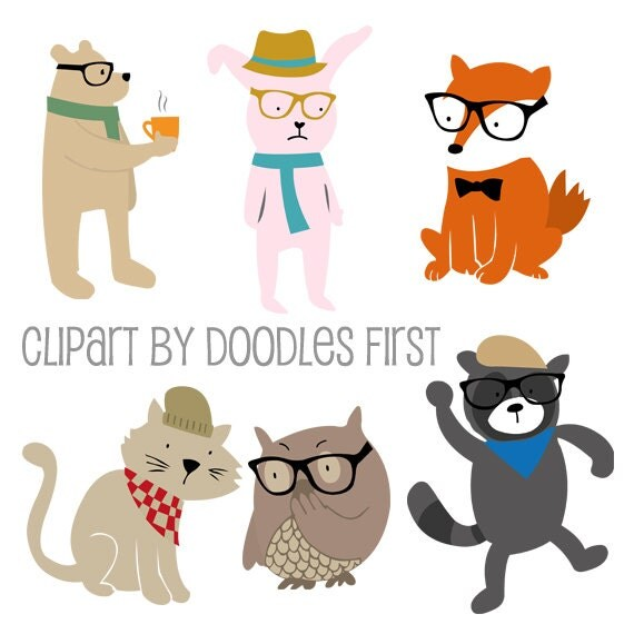 Hipster Animals Bear Bunny Red Fox Cat Owl and Raccoon Clipart