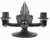 Upcycled Smoky Black Art Deco Fostoria Glass Double Candelabra