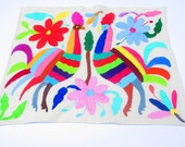 Mexican Otomi fabric, tribal fabric, embroidered, colorful Otomi embroidery from Mexico, Otomi Textiles, peacock, birds, Fiesta decoration