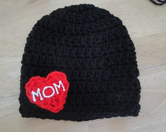 Hand Crocheted Tough Guy Beanie Hat, Little Boy Hat, Photo Prop, Baby Boy Beanie, Mother's Day Gift, Tattoo Style Black Skullcap