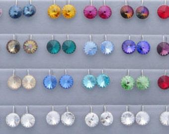 Bridesmaid Earrings - Rivoli Earrings - Crystal Bridal Earrings - Birthstone Earring - Bridal Earrings - Bridesmaid Jewelry - Diamond Bridal