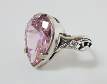 Sterling Silver Ring With Pink Quartz Size 7 O
