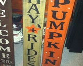 Hand Painted Wood HAYRIDE or  PUMPKIN, Fall Wall Decor, Primitive, Halloween Decor, The Country Nook Hand Made SIGNS. Looks great on a Porch