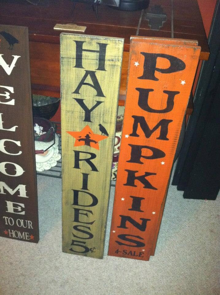 Hand Painted Wood HAYRIDE or PUMPKIN Fall Wall Decor