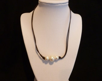 Leather and Three White Sea Pearl Necklace