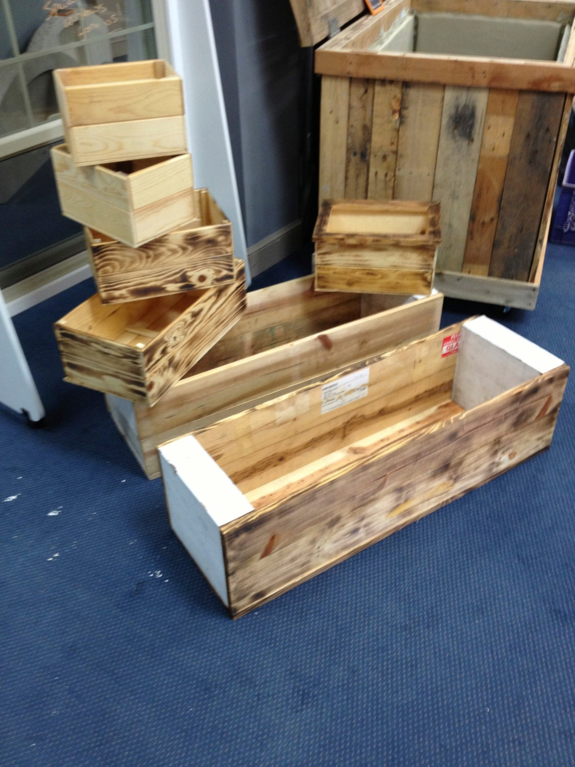 Planter boxes by recowarehouse on etsy for How to make a planter box out of pallets
