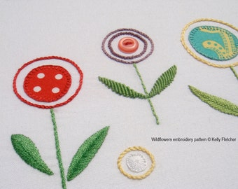 Wildflowers hand embroidery pattern