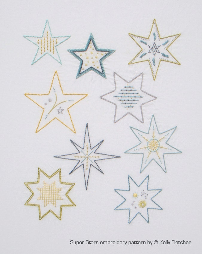 Super stars modern hand embroidery pattern