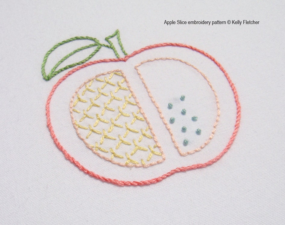 Apple slice modern hand embroidery pattern
