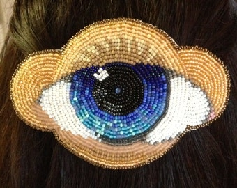 Blue Eye Embroidered Beadwork Barrette