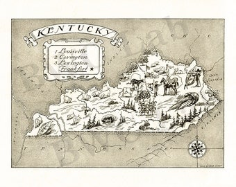 Pictorial Map of Kentucky - fun illustration of vintage state map