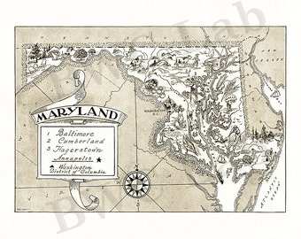 Pictorial Map of Maryland - fun illustration of vintage state map