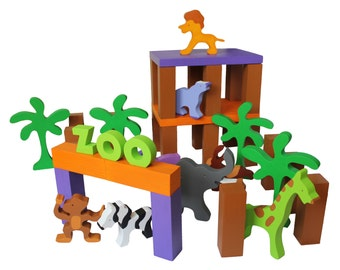 """Wooden  Toy Zoo -- """"My Very Own Zoo"""" Child Safe, Handcrafted from Reclaimed Wood, Eco-friendly by GiggleTree Toys"""