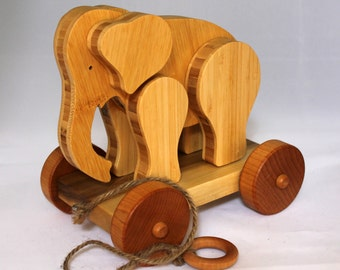 Wooden Pull Toy Elephant - Child Safe, Handcrafted from Reclaimed Bamboo, Eco-friendly by GiggleTree Toys