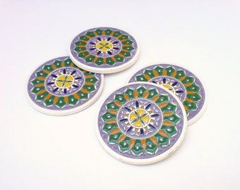 Coasters, Vintage Houseware, Retro Ceramic, Tableware Decor, Hand Painted Ceramic