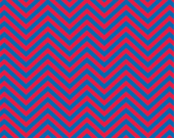 Blue and red chevron craft  vinyl sheet - HTV or Adhesive Vinyl -  zig zag pattern  HTV87