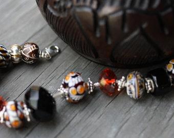 Eyecatching hot glasswork and faceted crystal bracelet