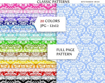 Damask Digital Paper Pack, 20 rainbow colors, background patterns - BR 034