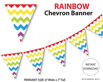 Printable banner, chevron banner, rainbow banner, printable banner, DIY party, rainbow  - BR 221