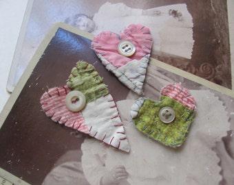 Set of 3 Refrigerator Magnets -  Antique Quilt Heart