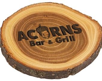 Personalized Elm Log Coaster Set of 6