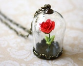 Reserved for Casey - Enchanted Red Rose Necklace - Beauty and the Beast Inspired Glass Terrarium, Whimsical Unique Jewerly