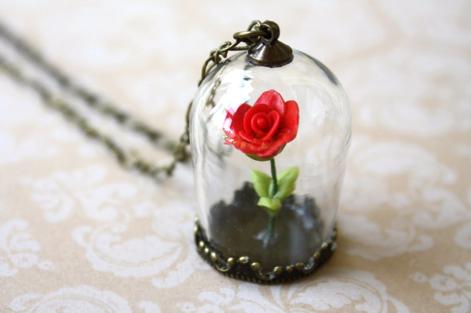 encased red rose necklace glass terrarium by apocketofwhimsy