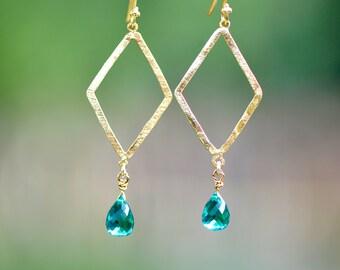 Diamond earrings - Teardrop drop earrings - Apatite hydro teardrop earrings - bridal jewelry - Apatite hydro jewelry - gold jewelry