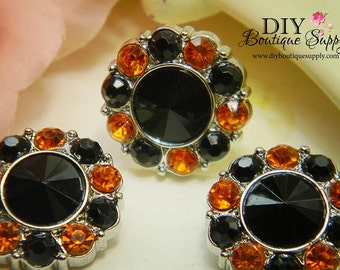21 mm Halloween Rhinestone Buttons BLACK & ORANGE Acrylic - HALLOWEEN Rhinestone Embellishments Flower centers Headband Supplies 5 pc 201431