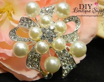 Pearl Rhinestone Brooch - DIY Wedding Brooch Bouquet Supply - Invitations Sash Pin Wedding Jewelry Bridal Accessories 55mm 221202