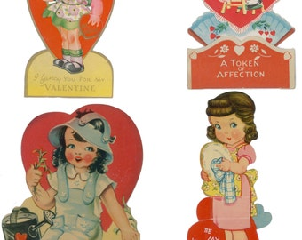 Four Printable 1930 Valentines, Digital Valentines, Vintage Valentines, 1930s Valentines, 1940s Valentines, Vintage Valentine Clip Art