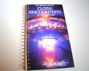 Close Encounters Upcycled VHS tape notebook / spiral notetook / VHS tape box notebook