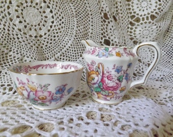 Staffordshire Sugar Bowl and Creamer