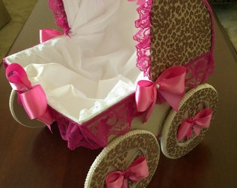 The Brianna Hot Pink Cheetah Baby Carriage / 14 Inch Baby Carriage Centerpiece / Baby Shower Centerpiece