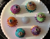 Mini Zombie Halloween Cupcakes with an Eyeball on Top Set (6 Zomcakes in a set)