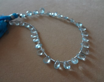 30 PCS-6  to 8 mm Blue Topaz Briolette Faceted Pears Full 8 inch Strand-AAA Quality