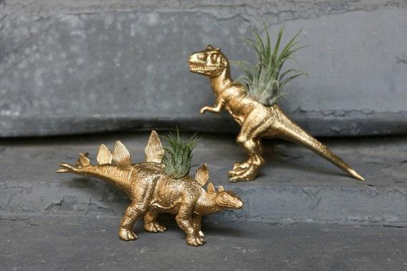Dinosaur Planter 2x TILLANDSIA-SAURUS T-Rex + Stegosaurus GOLD